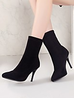 cheap -Women's Boots Stiletto Heel Pointed Toe Casual Daily Solid Colored Nubuck Booties / Ankle Boots Black / Brown
