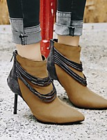 cheap -Women's Boots Stiletto Heel Pointed Toe Minimalism Daily Tassel Solid Colored PU Booties / Ankle Boots Black / Brown