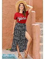cheap -Women's Basic Boho Daily Wide Leg Pants Polka Dot Split Polka Dots Black Khaki S M L