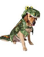 cheap -Dog Cat Halloween Costumes Costume Shirt / T-Shirt Animal Dinosaur Unique Design Cute Christmas Party Dog Clothes Warm Green Costume Plush XS S M L XL XXL