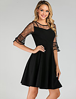 cheap -Women's Sheath Dress Knee Length Dress - Half Sleeve Solid Color Mesh Patchwork Summer Elegant Daily Flare Cuff Sleeve 2020 Black S M L XL XXL