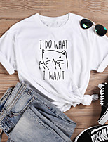 cheap -Women's T-shirt Graphic Prints Letter Print Round Neck Tops Slim 100% Cotton Basic Basic Top White Black Red