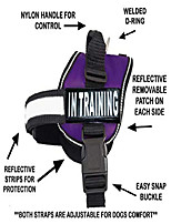 cheap -service dog harness vest cool comfort nylon for dogs small medium large girth, purchase comes with 2 in training reflective patches. please measure dog before ordering purple