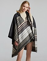cheap -Women's Cloak / Capes Regular Striped Daily Basic Black One-Size