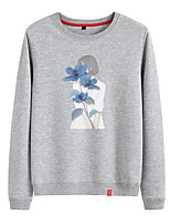 cheap -Women's Sweatshirt Womens Pullover Sweatshirts Black White Pink Cartoon Crew Neck Cotton Person Cute Flower Sport Athleisure Pullover Long Sleeve Breathable Warm Soft Comfortable Everyday Use Causal