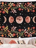 cheap -moonlit garden tapestry, moon phase surrounded by vines and flowers black wall decor tapestry 70×90 inches
