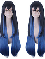 cheap -Synthetic Wig Hashibira Inosuke Demon Slayer Natural Straight With Ponytail Wig Long Black / Blue Synthetic Hair 30 inch Women's Anime Cosplay Creative Black Blue / Ombre Hair