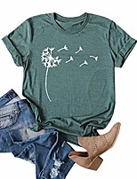 cheap -women& #39;s cute dandelion t shirts o neck graphic tees casual short sleeve summer tops & #40;green,x-l& #41;