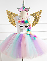 cheap -Unicorn Dress Wings Costume Girls' Movie Cosplay Tutus Braided / Cord Golden / Silver / Rainbow Dress Wings Headwear Christmas Halloween Carnival Polyester / Cotton Polyester