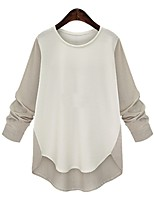 cheap -Women's Blouse Shirt Solid Colored Long Sleeve Patchwork Round Neck Tops Basic Basic Top Black Beige