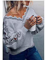 cheap -Women's Basic Hollow Out Lace Trims Solid Colored Pullover Long Sleeve Sweater Cardigans V Neck Fall Winter White Black Gray