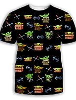 cheap -Men's Party T-shirt Graphic Print Short Sleeve Tops Exaggerated Round Neck Black