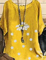 cheap -Women's Plus Size T-shirt Floral Flower Daisy Print Round Neck Tops Loose Cotton Basic Basic Top Blue Yellow Gray