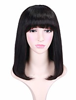cheap -Remy Human Hair Wig Medium Length Natural Straight Short Bob With Bangs Natural Black Fashionable Design Life Women Capless Women's Natural Black 14 inch