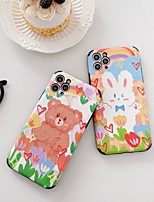 cheap -Case For Apple iPhone 7 8 plus SE 2020 X XS XR XS max  11 11 Pro 11 Pro Max Pattern Back Cover  Cartoon TPU Embossed cute LOVELY BEAR RABBIT