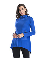 cheap -Women's Blouse Shirt Solid Colored Long Sleeve Patchwork Button Cowl Neck Tops Basic Basic Top Black Blue Wine