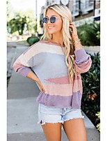 cheap -Women's Stylish Knitted Color Block Pullover Long Sleeve Sweater Cardigans Crew Neck Round Neck Fall Winter Light Blue