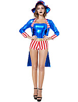 cheap -Magician Cosplay Costume Outfits Adults' Women's Cosplay Halloween Halloween Festival / Holiday Polyester Blue Women's Easy Carnival Costumes / Leotard / Onesie / Cloak / Hat / Leotard / Onesie
