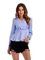 cheap -Women's Blouse Shirt Houndstooth Long Sleeve Layered Ruffle Patchwork V Neck Tops Basic Basic Top Black Blue Red