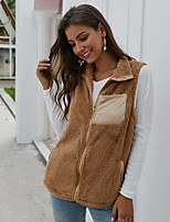 cheap -Women's Winter Teddy Coat Short Solid Colored Daily Basic Black Camel Brown One-Size / Loose