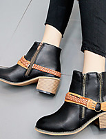 cheap -Women's Boots Wedge Heel Round Toe Vintage Daily Rivet Color Block PU Booties / Ankle Boots Black / Khaki / Brown
