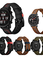 cheap -22mm Leather Watch Band for Amazfit GTR 47mm / Amazfit Stratos 3 / Amazfit Pace 1 / Amazfit Stratos 2 2S / Xiaomi Watch Color / Xiaomi Heylou Solar LS05 Replaceable Bracelet Wrist Strap Wristband