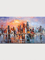 cheap -Hand Painted Canvas Oil Painting Abstract Buildings Home Decoration With Frame Painting Ready To Hang With Stretched Frame