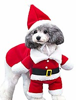 cheap -christmas cat costumes two legs with cap, santa claus suit dog costume dress up, cats jumpsuit winter coat warm clothes