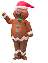 cheap -Santa Claus Cosplay Costume Inflatable Costume Funny Costume Adults' Men's Cosplay Halloween Halloween Festival / Holiday Fabric Brown Men's Women's Easy Carnival Costumes