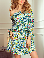 cheap -Women's A-Line Dress Short Mini Dress - Long Sleeve Print Ruffle Print Summer Off Shoulder Casual Flare Cuff Sleeve Slim 2020 White Black Green S M L XL XXL