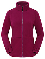 cheap -Women's Hiking Fleece Jacket Winter Outdoor Solid Color Thermal Warm Windproof Fleece Lining Breathable Top Fleece Full Length Visible Zipper Fishing Climbing Camping / Hiking / Caving Black / Purple