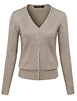 cheap -basic solid v-neck button closure long sleeves sweater cardigan camel 3xl