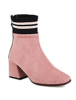 cheap -Women's Boots Block Heel Round Toe Chinoiserie Daily Party & Evening Color Block Knit Suede Booties / Ankle Boots Black / Red / Pink / Sock Boots