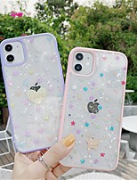 cheap -Case For Apple iPhone SE 2020 iPhone 11 Pro Max XS Max XR X 7 8 Plus 6 6s Plus Transparent Pattern Back Cover Heart Glitter Shine TPU
