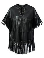 cheap -Women's Fall & Winter Coat Long Solid Colored Daily Tassel Fringe PU Black S M L