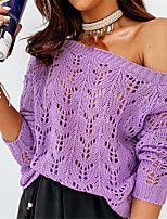 cheap -Women's Basic Knitted Hollow Out Solid Color Plain Pullover Acrylic Fibers Long Sleeve Sweater Cardigans Off Shoulder Fall Winter White Purple Blushing Pink