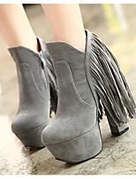 cheap -Women's Boots Pumps Round Toe Casual Basic Daily Tassel Solid Colored Suede Sheepskin Booties / Ankle Boots Walking Shoes Black / Gray