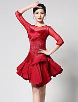 cheap -Latin Dance Dress Tassel Pattern / Print Split Joint Women's Training Performance 3/4 Length Sleeve High Tulle Milk Fiber