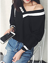 cheap -Women's Going out Blouse Shirt Striped Long Sleeve V Neck Tops Loose Cotton Basic Basic Top White Black