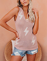 cheap -Women's Modern Contemporary Knitted Abstract Sweater Sleeveless Sweater Cardigans V Neck Summer Black Blushing Pink