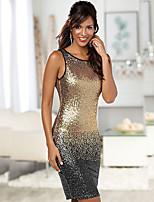 cheap -Women's A-Line Dress Short Mini Dress - Sleeveless Solid Color Backless Sequins Embroidered Summer Sexy Party Club 2020 Gold S M L XL XXL