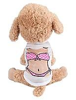 cheap -wakeu dog clothes puppy vest muscle bikini pattern t-shirt pet summer apparel for small dog boy girl (bikini printing)