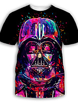 cheap -Men's Party T-shirt Graphic Print Short Sleeve Tops Exaggerated Round Neck Rainbow