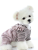 cheap -Dog Coat Pajamas Stripes Casual / Daily Cute Casual / Daily Winter Dog Clothes Warm Blue Pink Costume Plush XS S M L XL