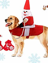 cheap -pet dog cat christmas costume, funny santa claus riding outfit for small large dogs, santa claus riding pet to send gift knight pets clothes suit for christmas dressing up