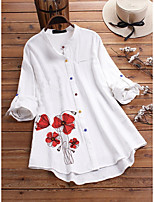 cheap -Women's Blouse Shirt Floral Flower Long Sleeve Print Round Neck Tops Loose Cotton Basic Basic Top White