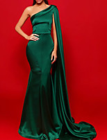 cheap -Sheath / Column Beautiful Back Sexy Party Wear Formal Evening Dress One Shoulder Sleeveless Court Train Stretch Satin with Pleats 2020