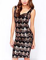 cheap -Women's A-Line Dress Short Mini Dress - Sleeveless Print Sequins Summer V Neck Sexy Party Club 2020 Black S M L XL XXL