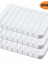 cheap -3pack silicone soap dishes for bathroom, soap holders shower, soap savers, self-draining waterfall (white)