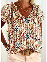 cheap -Women's Going out T-shirt Floral Flower V Neck Tops Beach Basic Top Rainbow